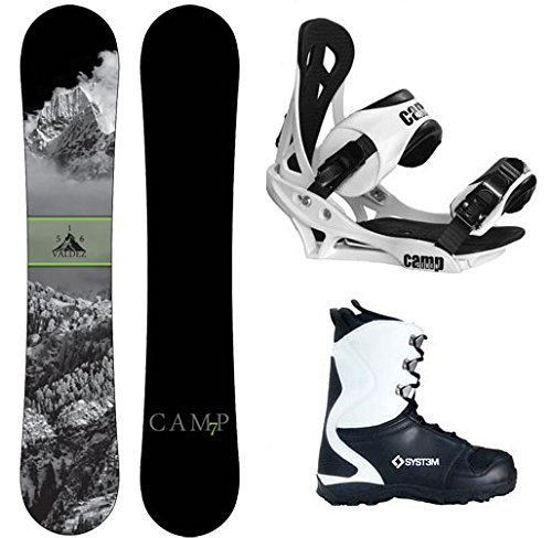 Black snowboard, boots and bindings